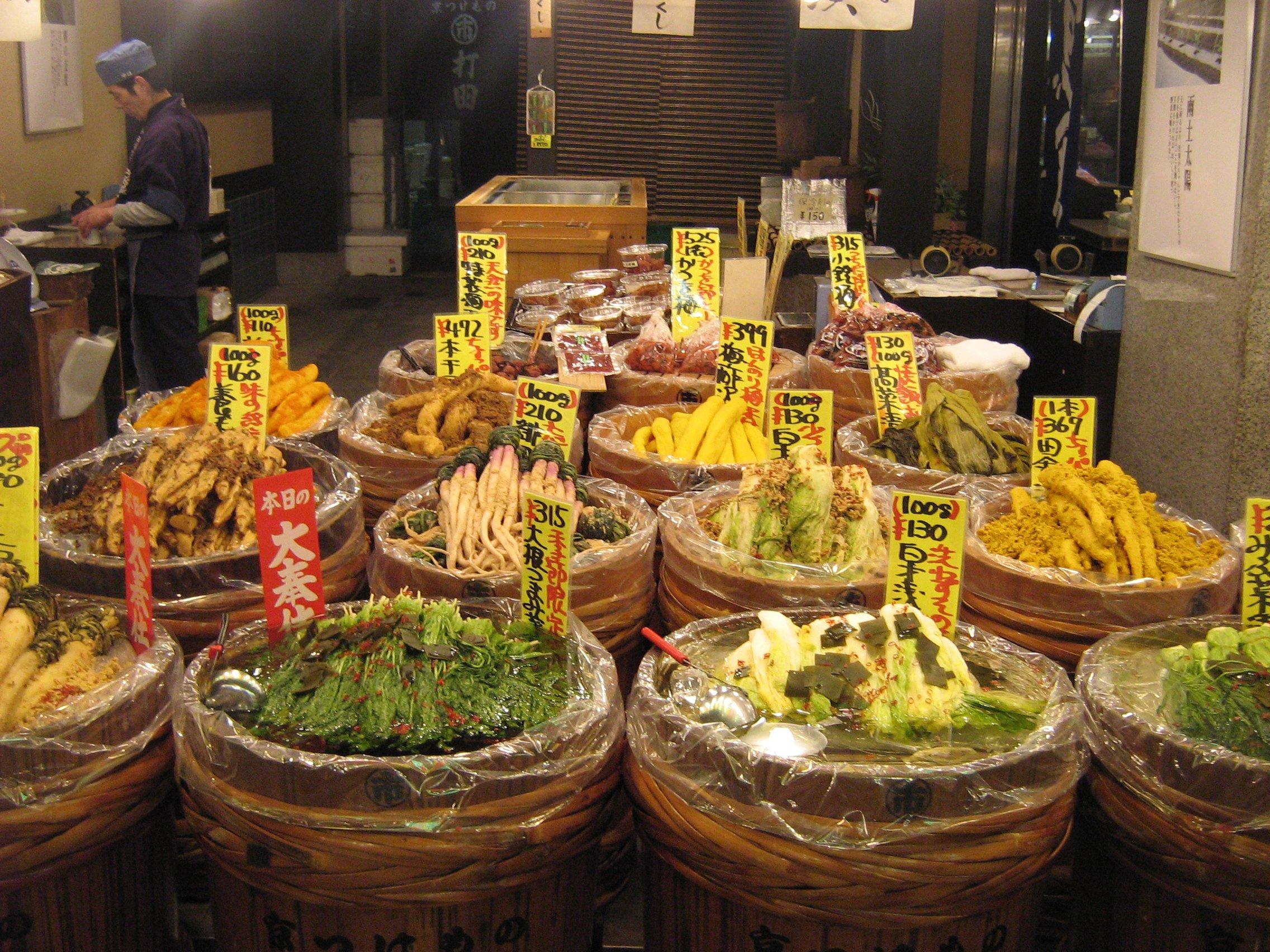 Tsukemono en el Mercado de Nishiki