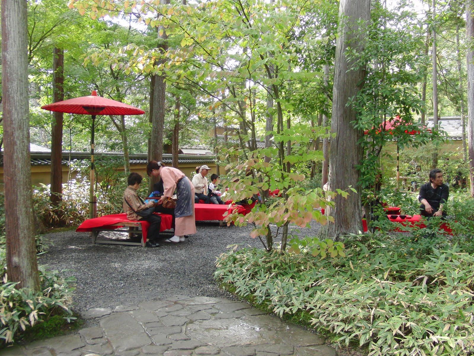 Tomar el té en el templo dorado de Kioto