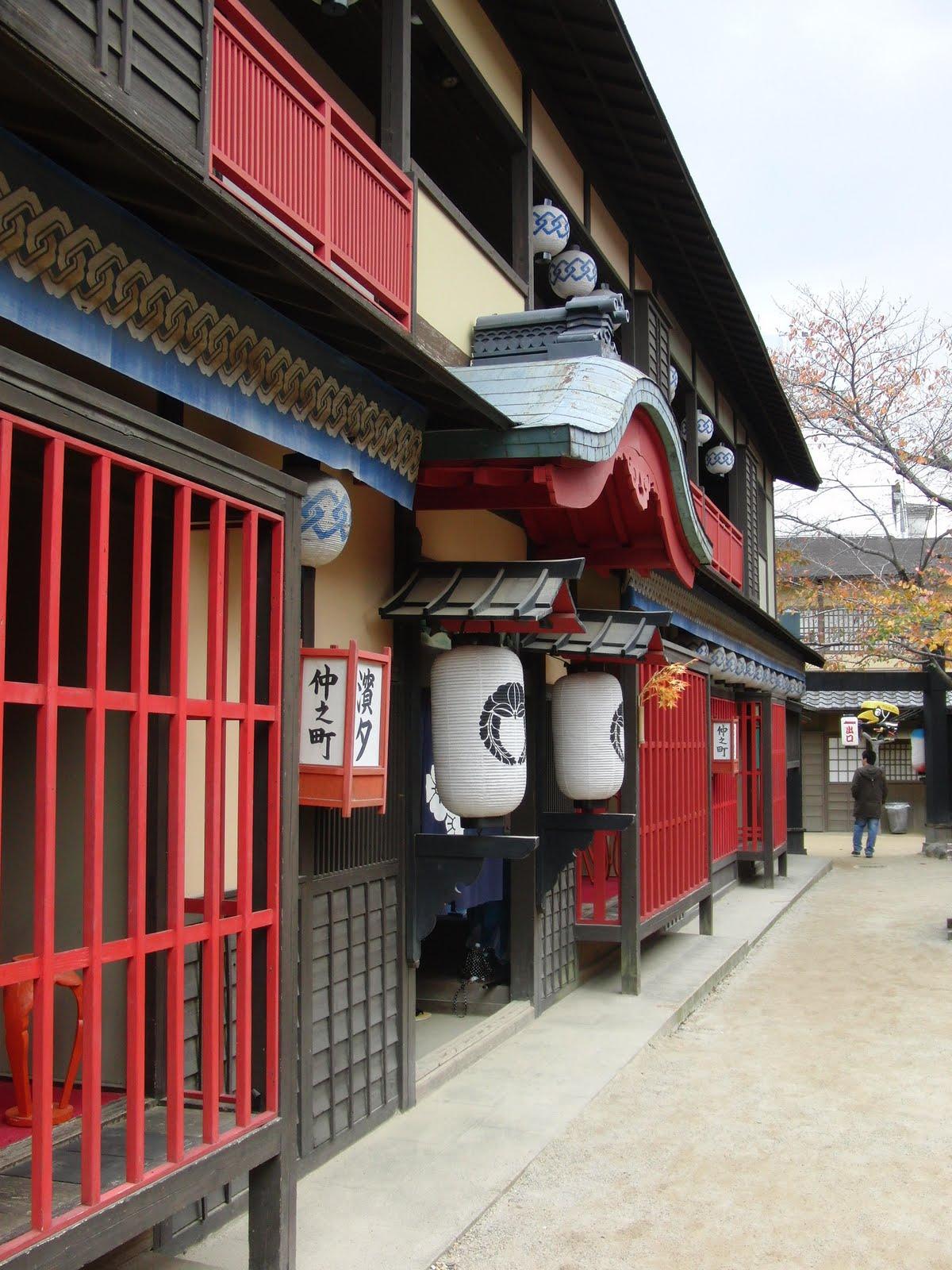 Casa antigua en los estudios de cine de Kioto