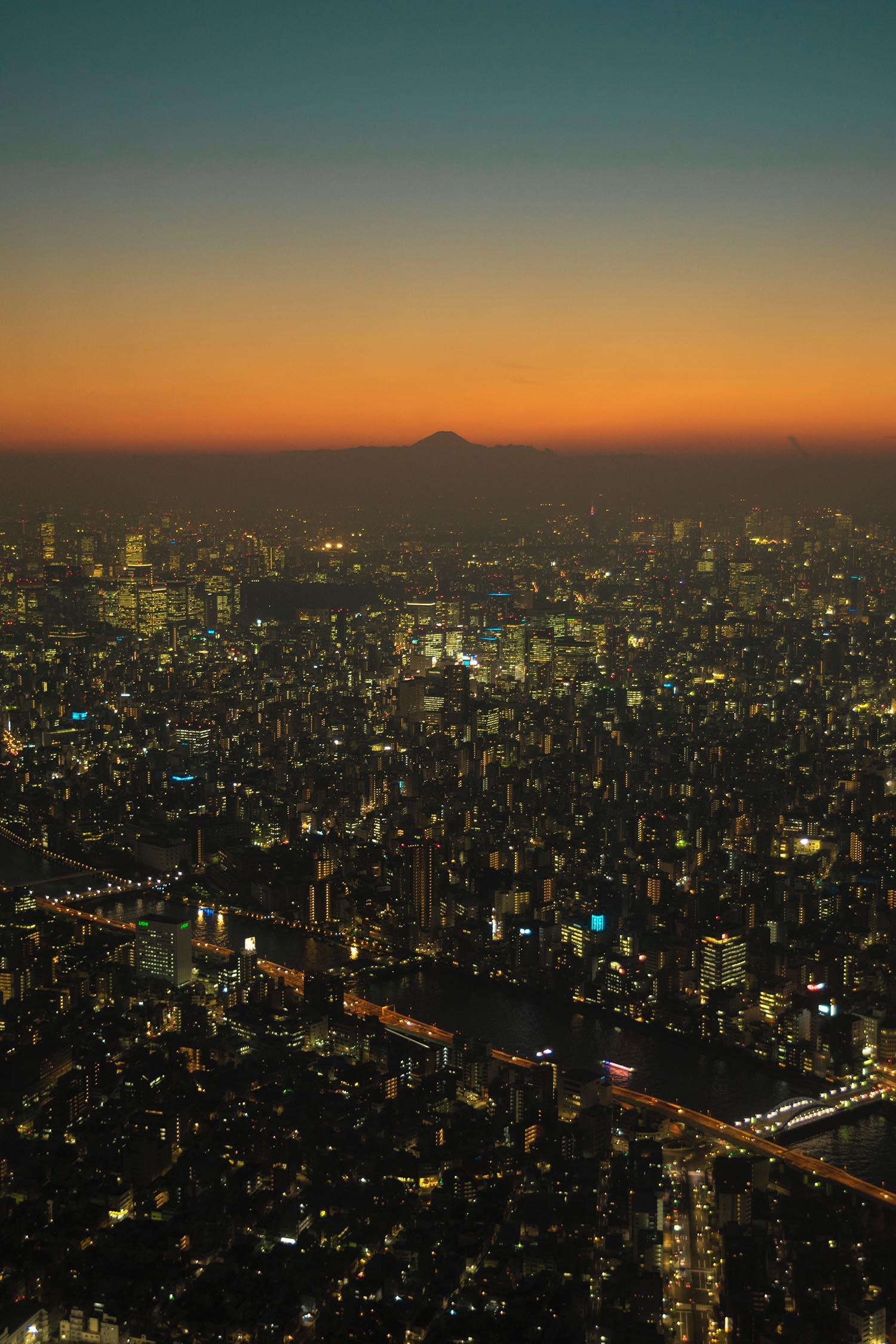 Vista desde la torre de Tokyo con el monte Fuji
